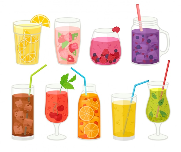 Collection of fresh cocktails on white background.