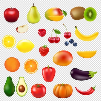 Collection fresh fruit transparent background