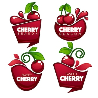 Collection of fresh juice stickers and cherry berry symbols for your text