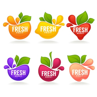 Collection of fresh stylized fruits and berries, logo, labels, stickers and emblems