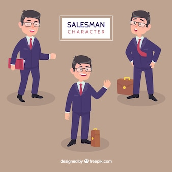 Collection of friendly salesman characters