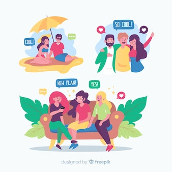 Raccolta di amici che trascorrono del tempo insieme