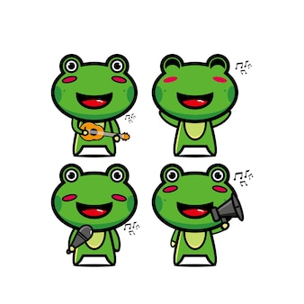 Collection frog sets holding musical instruments vector illustration flat style cartoon character