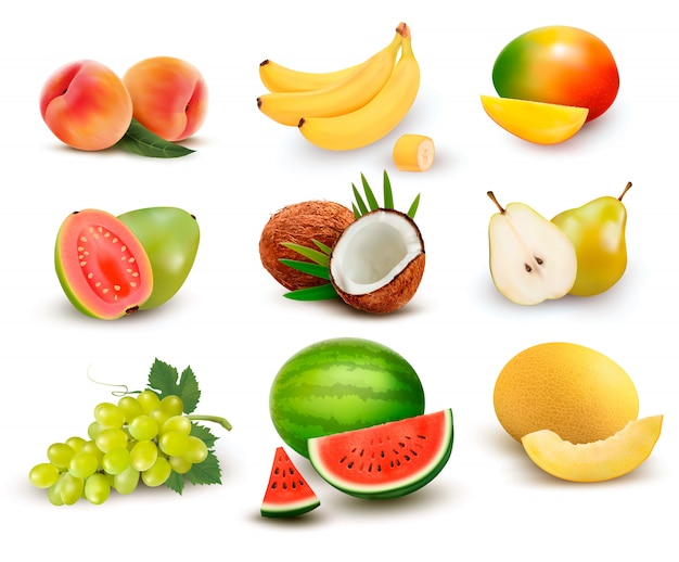 Collection of fruit and berries. watermelon, grape, pear, banana, mango, coconut, peach, guava.  set.
