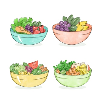 Collection of fruit and salad bowls