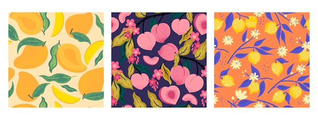 Collection of fruit seamless patterns