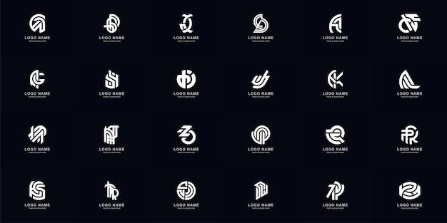 Коллекция полный набор абстрактных комбинирует буквы a - z вензель дизайн логотипа