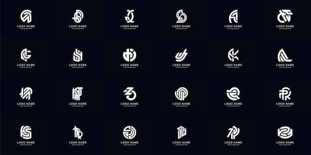 Collection full set abstract combine letter a - z monogram logo design