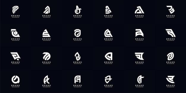 컬렉션 전체 세트 추상 문자 a 또는 aa 모노그램 로고 디자인