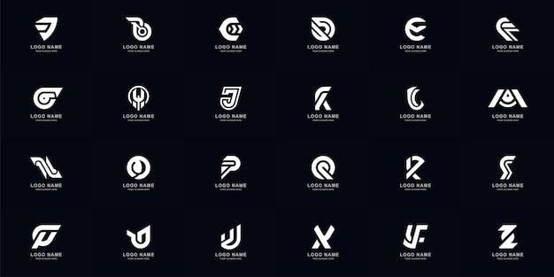 Коллекция полный набор абстрактных букв a - z дизайн шаблона логотипа монограммы
