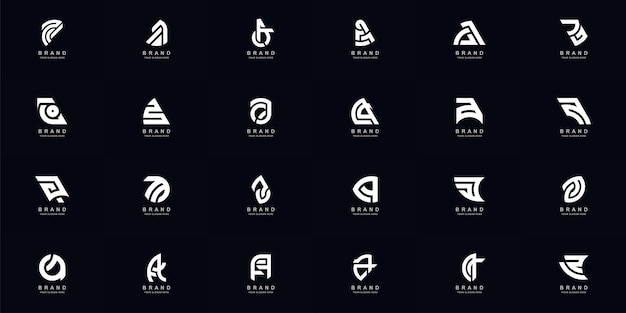 Collection full set abstract letter a or aa monogram logo design