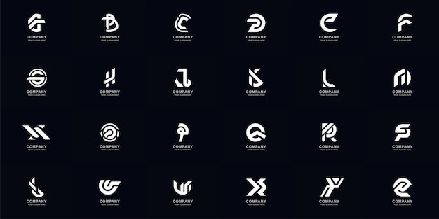 Collection full set abstract letter a - z monogram logo template design