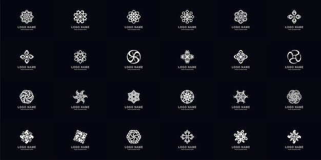 Collection full set abstract ornament or flower logo template design