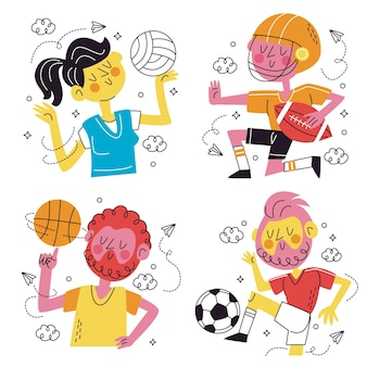 Collection of fun sports stickers