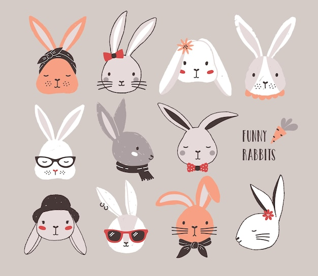 Collection of funny bunnies. set of cute rabbits or hares wearing glasses, sunglasses, hats and scarves.