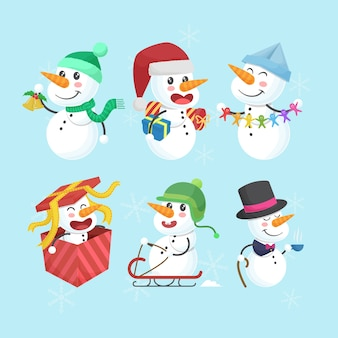Collection of funny and cute christmas snowman characters