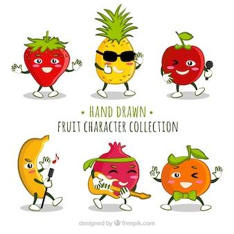 Raccolta di frutta caratteri divertenti