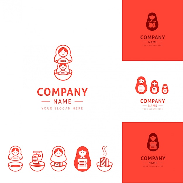 Collection of funny kitchen logos inspired by matrioshka dolls
