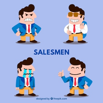Collection of funny salesman characters