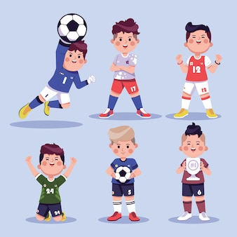 Collection of funny soccer characters