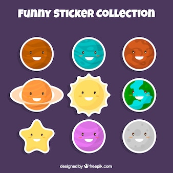 Collection of funny universe sticker