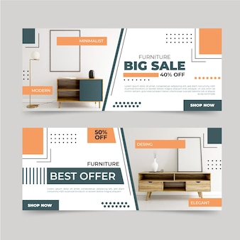 Collection of furniture sale banners with photos