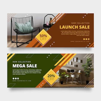 Collection of furniture sales banners with photos