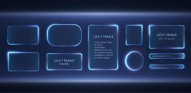 Collection of futuristic hud light blue frame hud png technological background light glass blue