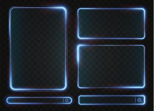 Collection of futuristic hud light blue frame technological background light glass blue frames png