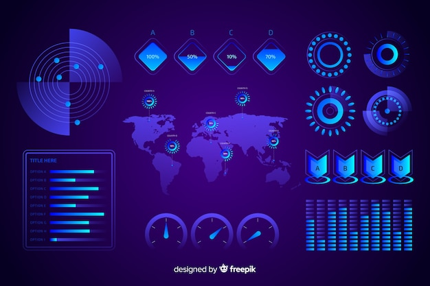 Collection of futuristic infographic elements
