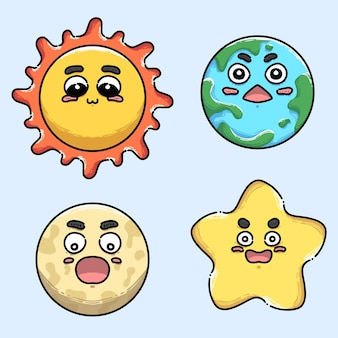 Collection of galaxy with cute face