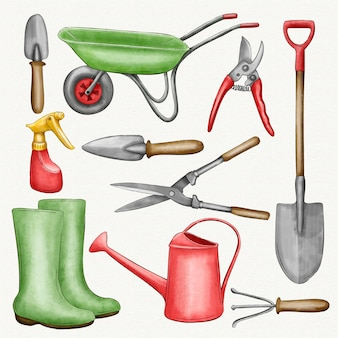 Collection of gardening elements and tools
