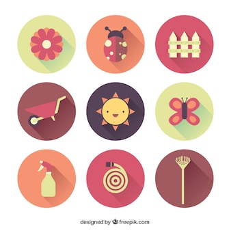 Collection of gardening icons Free Vector