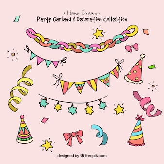 Collection of garland and elements birthday party