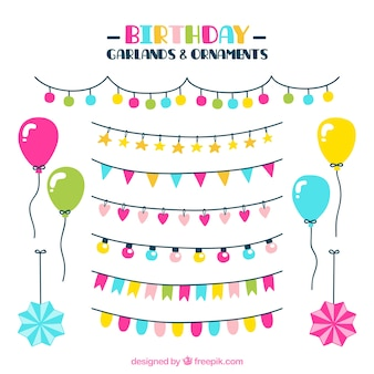 Collection of garlands and ornaments for birthdays