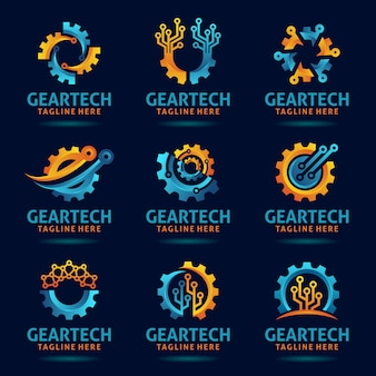 Collection of gear tech logo design