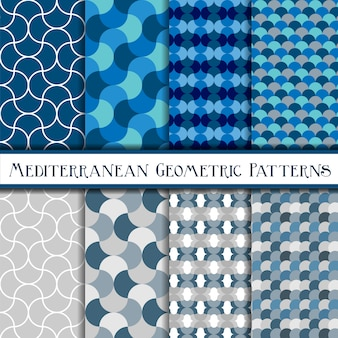 Collection of geometric blue scales seamless patterns