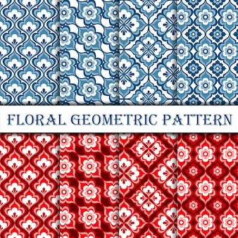 Collection of geometric floral deco seamless pattern