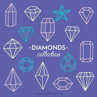 Collection of geometric gems in hand-drawn style
