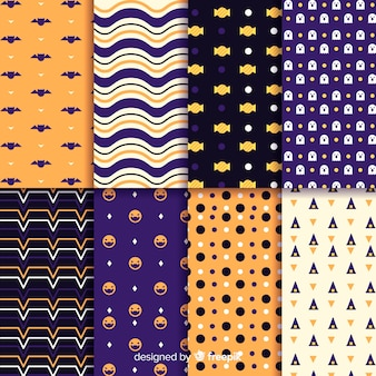 Collection of geometric halloween pattern