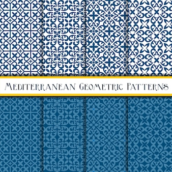 Collection of geometric mediterranean seamless pattern