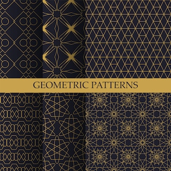 Collection of geometric patterns in oriental style