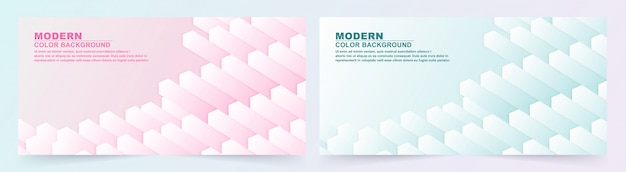 Collection of geometric pink and blue banner.