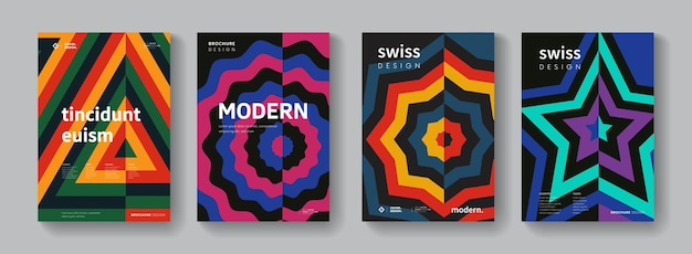 Collection of geometric retro pattern. swiss modernism posters set. bauhaus style background.
