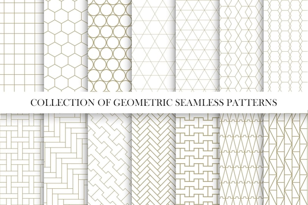 Collection of geometric seamless patterns simple minimal design