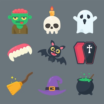 Collection of ghosts and objects for halloween. separate elements from the background