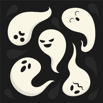 Collection of ghosts with different emotions