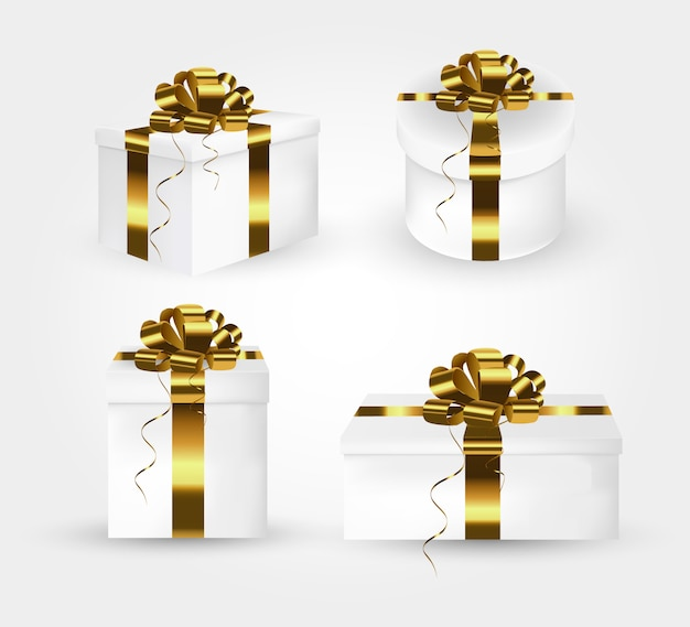 Collection of gift boxes with gold satin bows