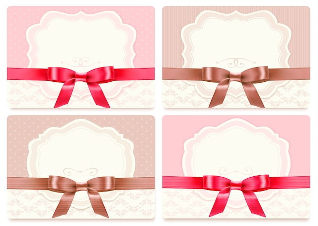 Collection of gift cards with ribbons.  background