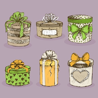 Collection of gift present boxes with bows